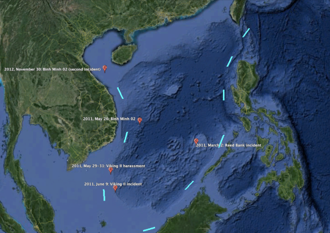 Locations of incidences of Chinese harassment of Vietnamese and Philippine energy survey ships